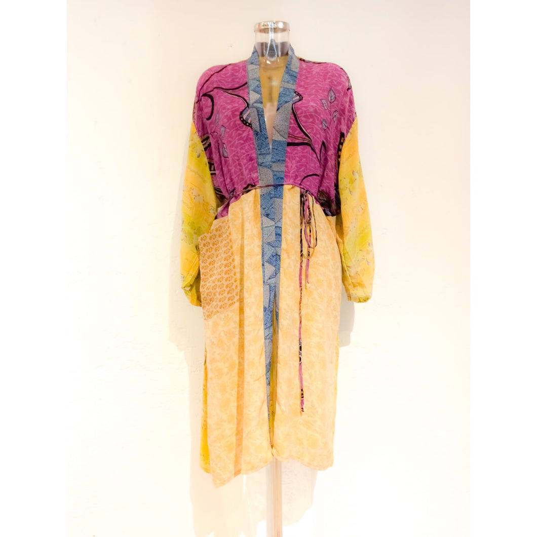 Pocket Long Mix Silk Kimono