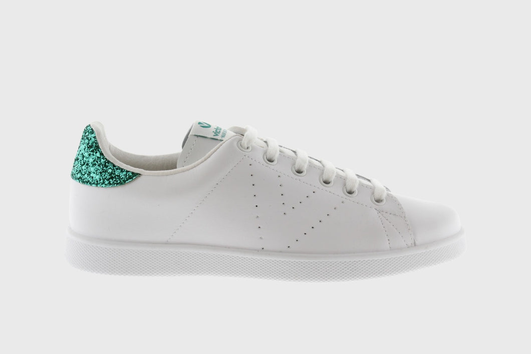 Tennis Leather Shoe With Glitter Detail, White/Green