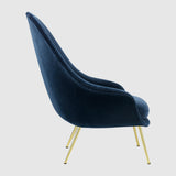Bat Lounge Chair - Fully Upholstered, High back, Conic base