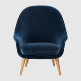 Bat Lounge Chair - Fully Upholstered, High back, Wood base