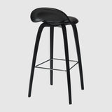 3D Bar Stool - Front Upholstered - 75 cm - Wood base