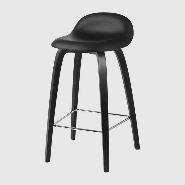 3D Counter Stool - Fully Upholstered - 65 cm - Wood base