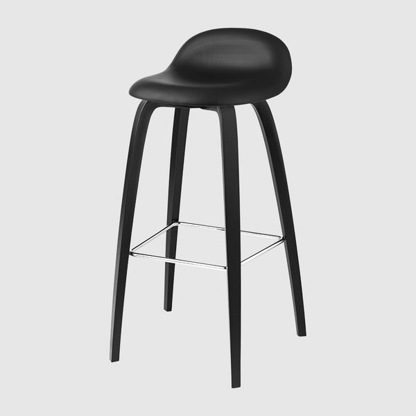 3D Bar Stool - Fully Upholstered - 75 cm - Wood base