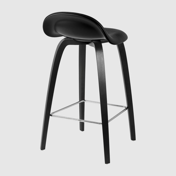 3D Counter Stool - Front Upholstered - 65 cm - Wood base
