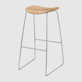 2D Bar Stool - Un-Upholstered, 75, Sledge Base
