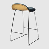 3D Counter Stool - Front Upholstered - 65 cm - Sledge base