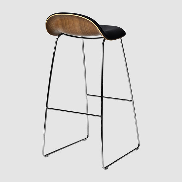 3D Bar Stool - Front Upholstered - 75 cm - Sledge base