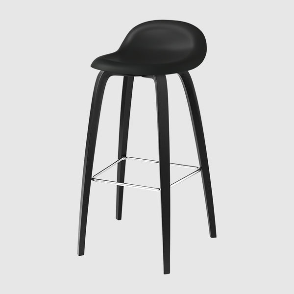 3D Bar Stool - Un-upholstered - 75 cm - Wood base