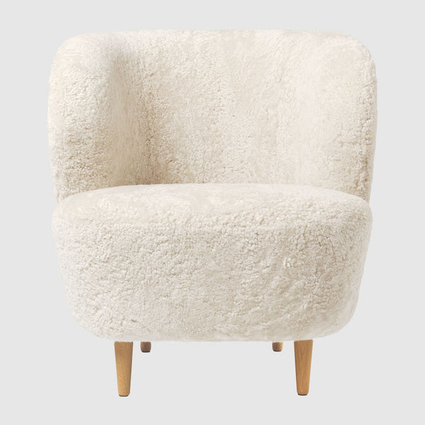 Stay Lounge Chair - Small, with wood legs, Sheepskin upholstery