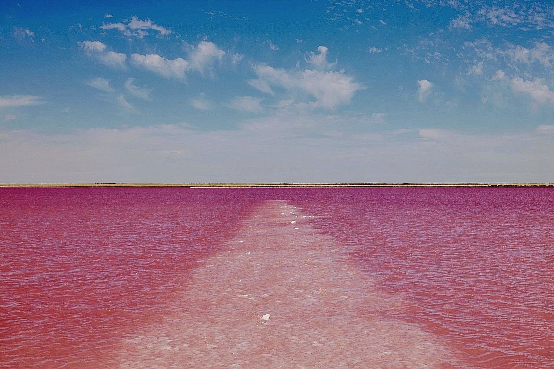 Salt Jetty and  Pink Water. Lake Bumbunga. PSP-0168