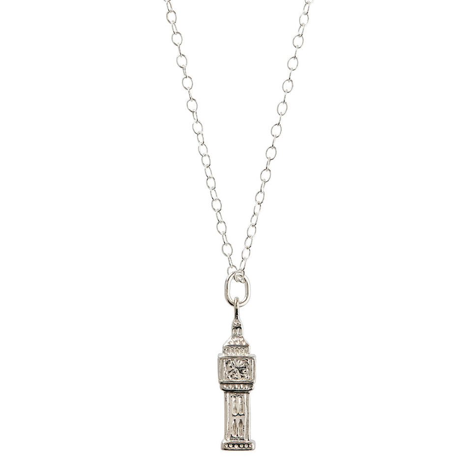 Sterling Silver Big Ben Pendant Necklace