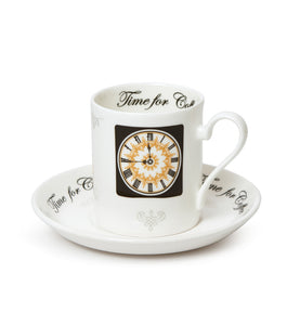 Clock Face Espresso Cup and Saucer