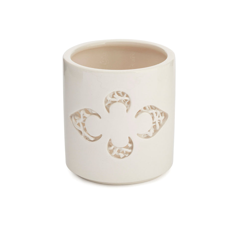 Ceramic Fleur-de-lys Tea Light Holder