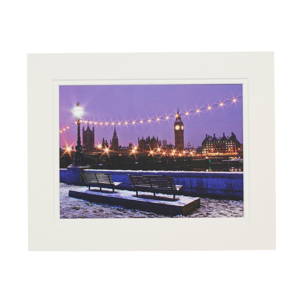 London in Snow Mounted Print featured image
