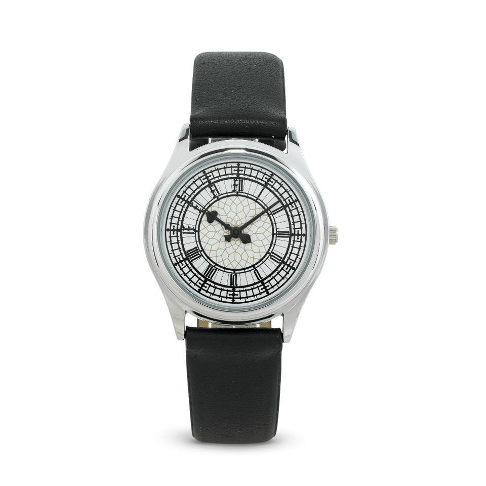 Silver Face Big Ben Watch with Black Strap