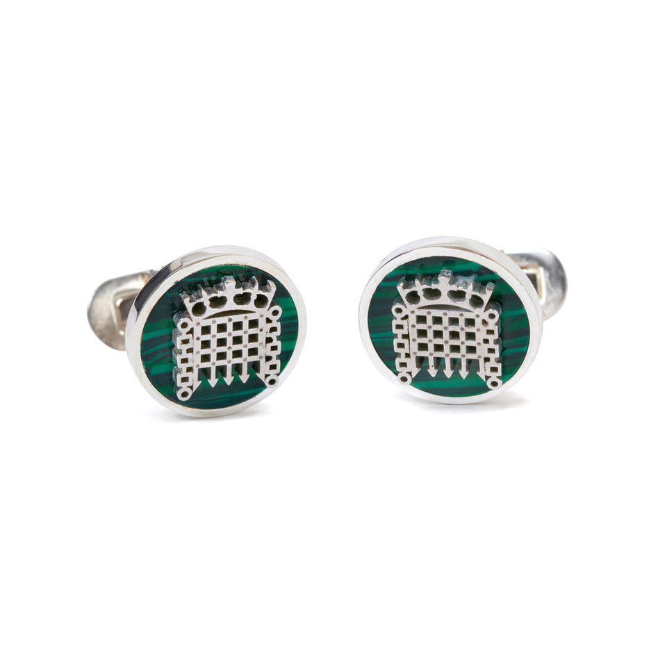 Malachite Stone Portcullis Cufflinks featured image