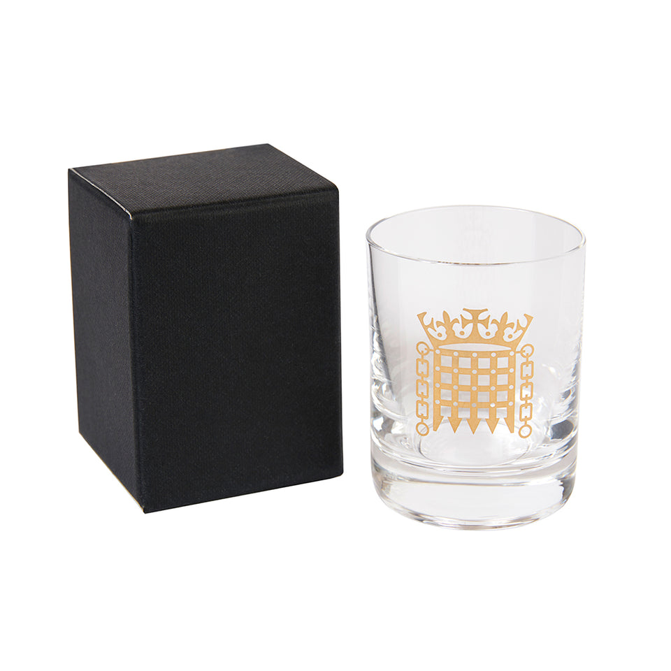 Gold Portcullis Tot Glass featured image