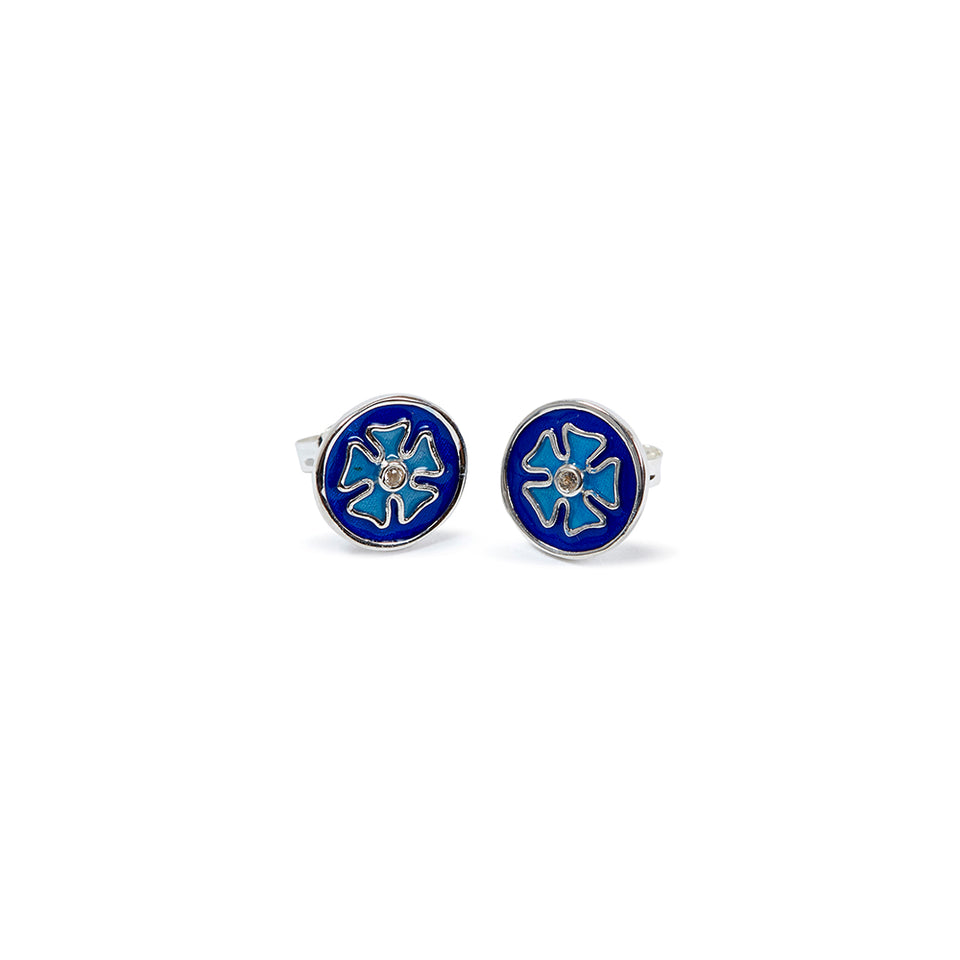 Sterling Silver Tile Earrings - Blue featured image