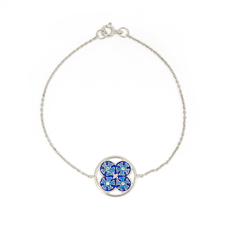 Sterling Silver Tile Bracelet - Blue featured image