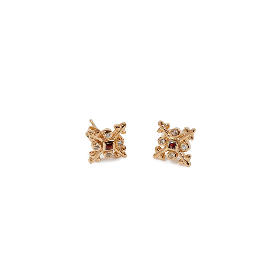 9k Gold-Plated Sterling Silver Tile Earrings - Red featured image