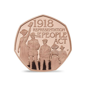 Limited Edition 22ct Gold Proof 50p Coin - Representation of the People Act 2018