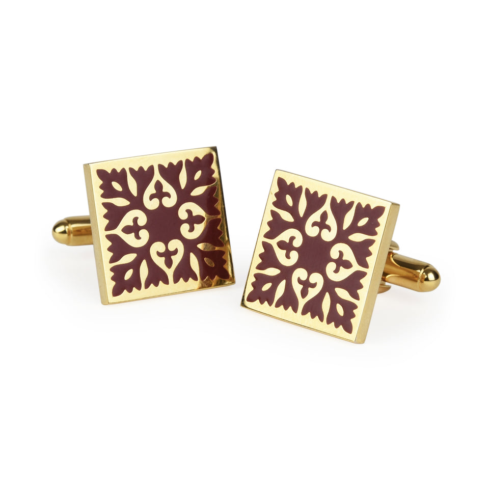 Red Encaustic Tile Enamel Cufflinks featured image