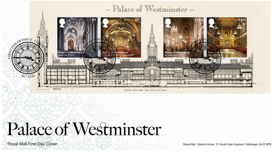 Palace of Westminster 150th Anniversary First Day Cover Miniature Souvenir Stamps featured image