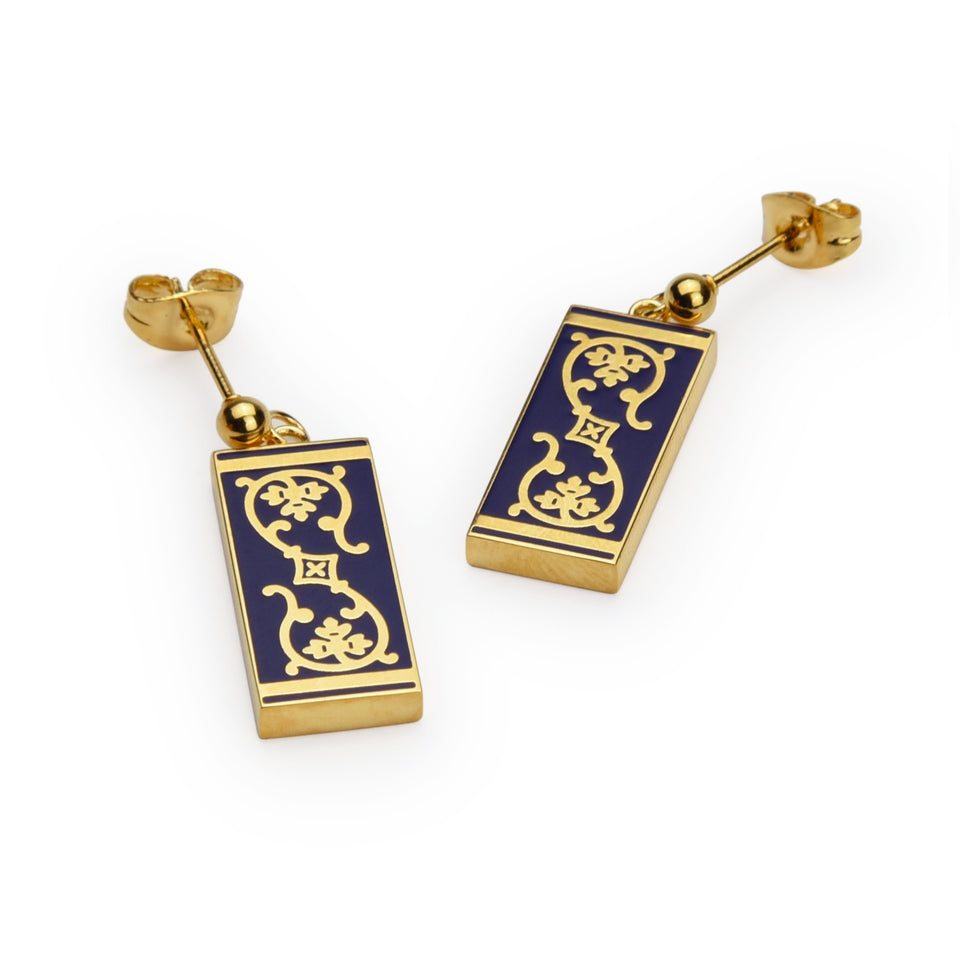 Blue Enamel Tile Earrings featured image