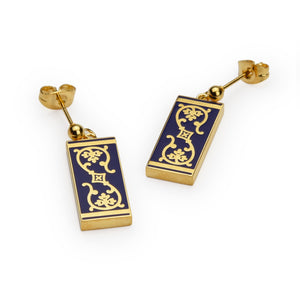 Blue Enamel Tile Earrings