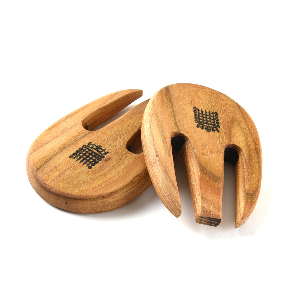 Handmade Oak Salad Servers with Portcullis Motif featured image