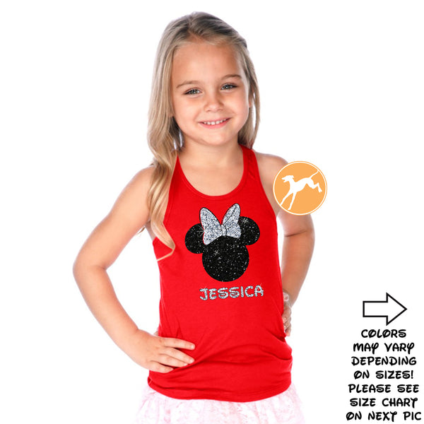 Disney Personalized Minnie Red kids tank