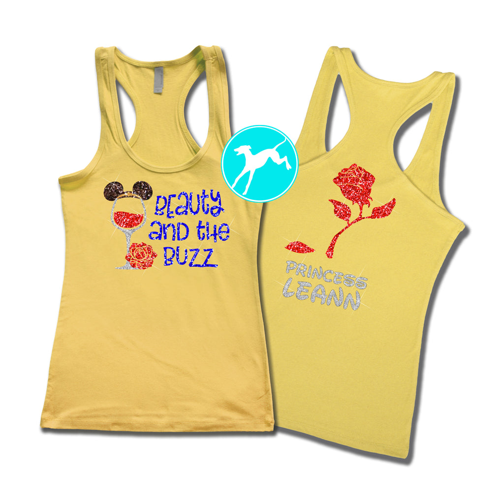 Disney Run Now wine later yelow personalized tank
