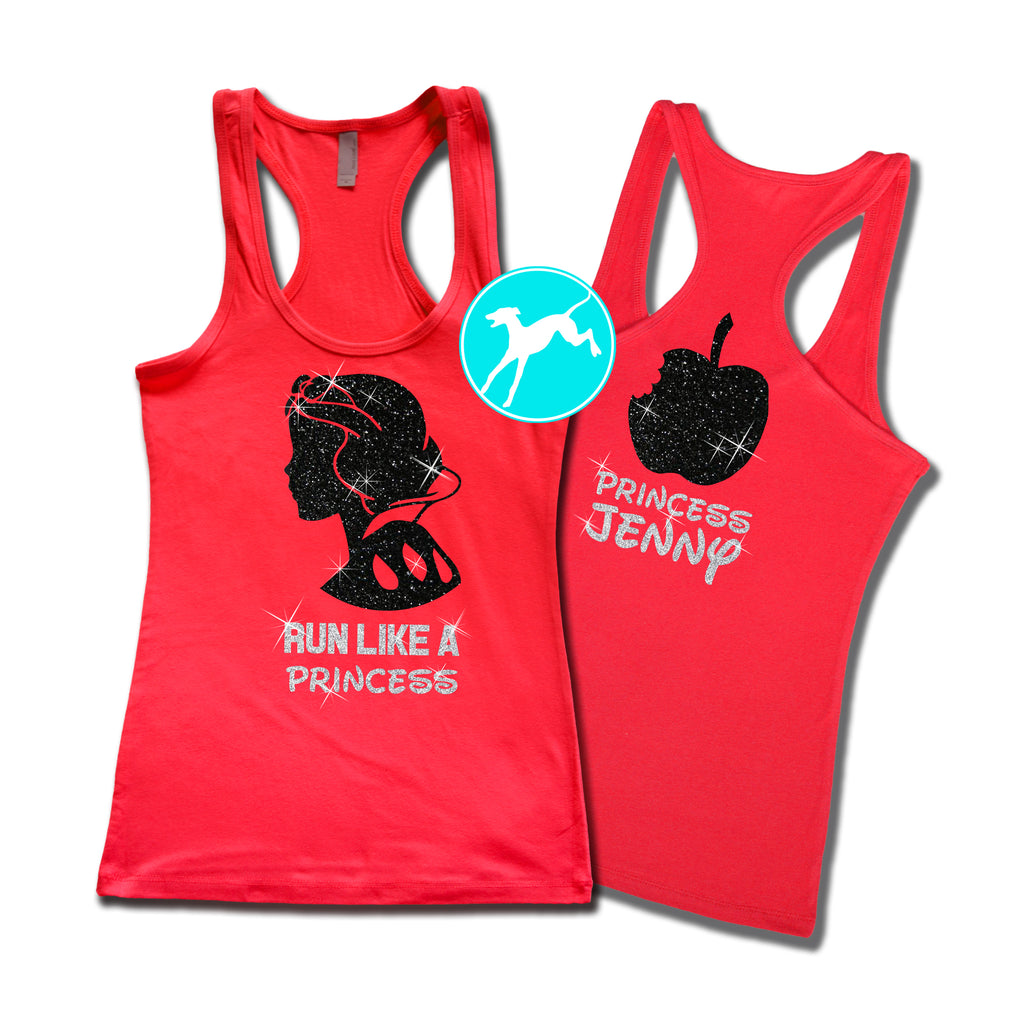 Disney Snow white Run like a Princess Personalized red tank
