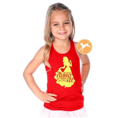Disney Snow white fairest of them all kids red tank