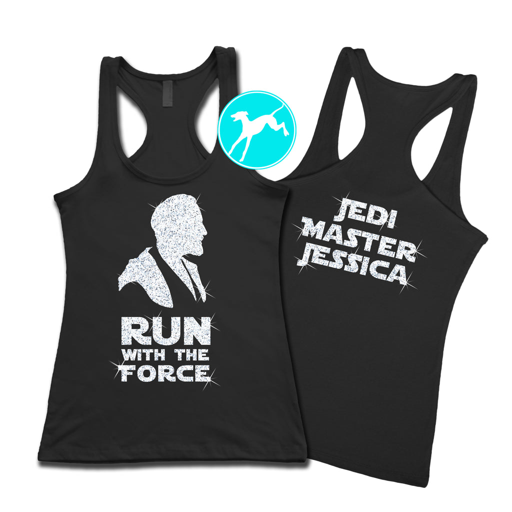 Disney Star Wars Run Force Obi glitter personalized tank