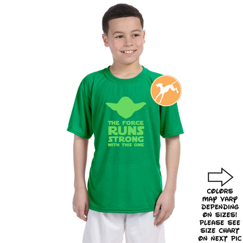 Disney Star Wars Yoda runs strong kids green shirt