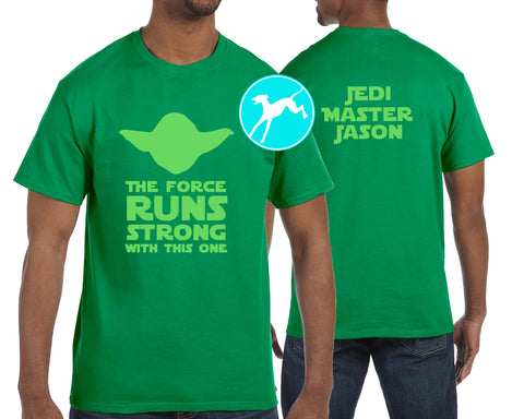 Disney Star Wars Yoda runs strong personalized green shirt