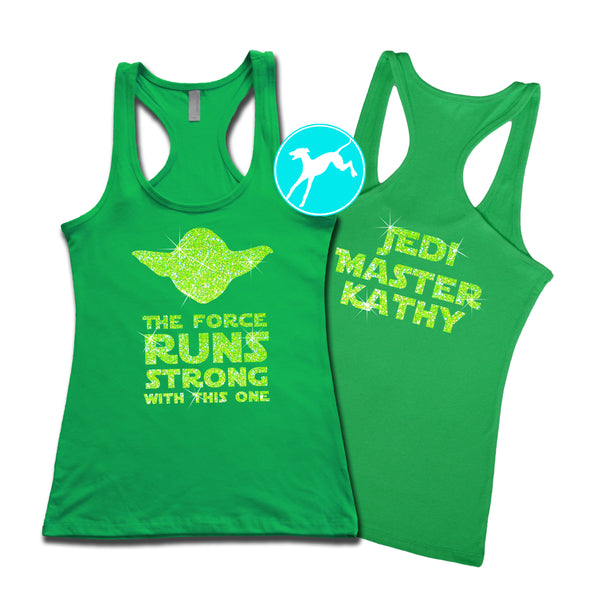 Disney Star Wars Yoda runs strong personalized green tank