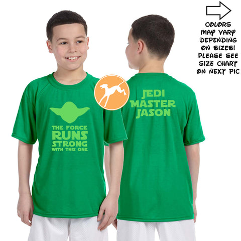 Disney Star Wars Yoda runs strong personalized kids green shirt