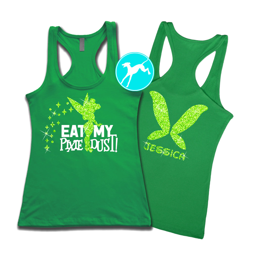 Disney Tinkerbell Eat pixie dust Personalised green Tank