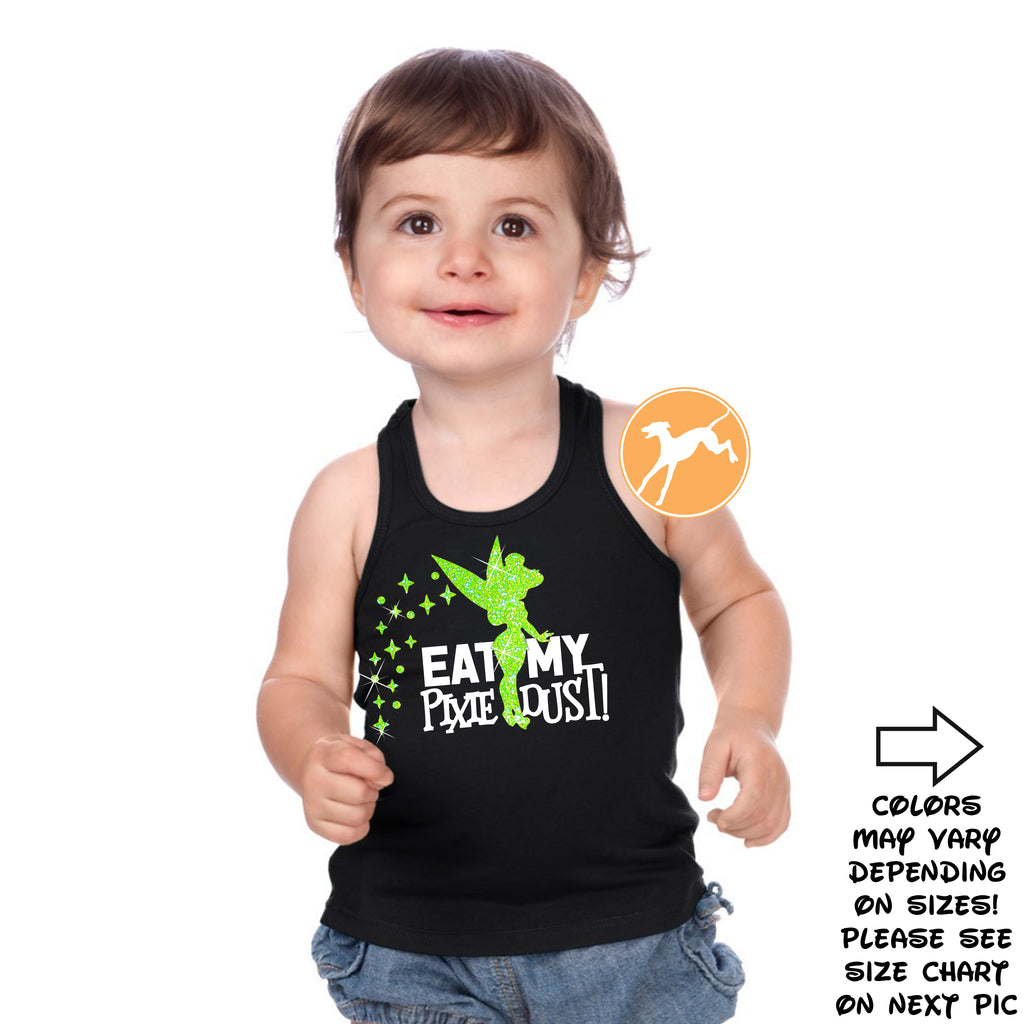Disney Tinkerbell Eat pixie dust green glitter kids Tank