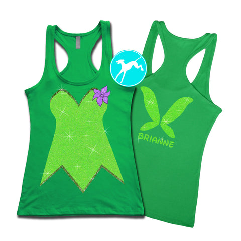 Disney Tinkerbell Personalized Costume green Tank