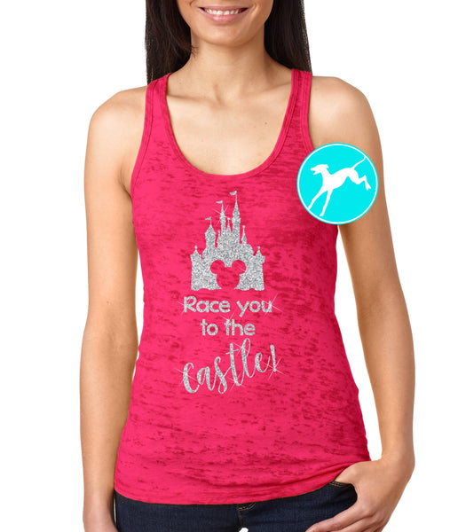 Disney race you to the castle pink Tank