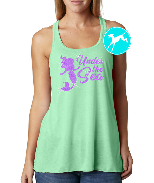 Little Mermaid under the sea purlple glitter tank
