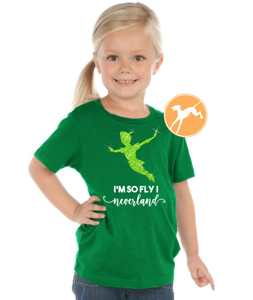 Peter Pan so fly i neverland kids green tank