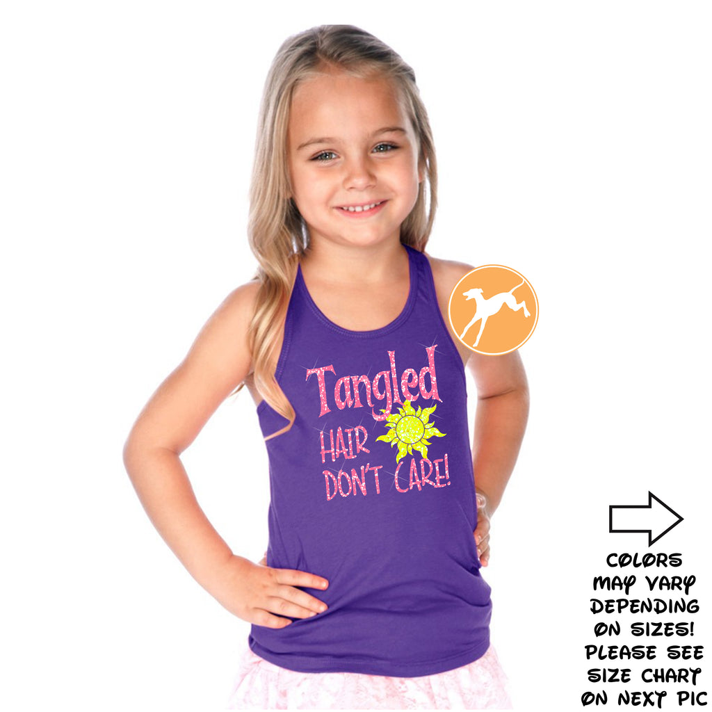 Tangled hair don't care kids tank