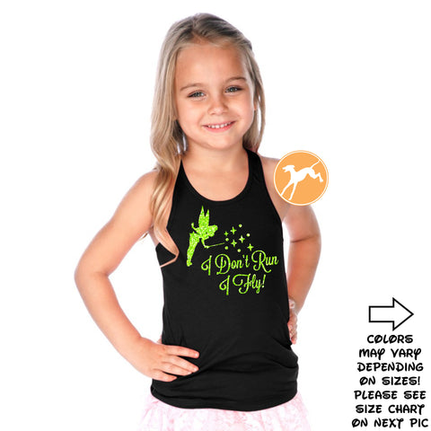 TinkerbellI I don't Run i Fly kids black tank