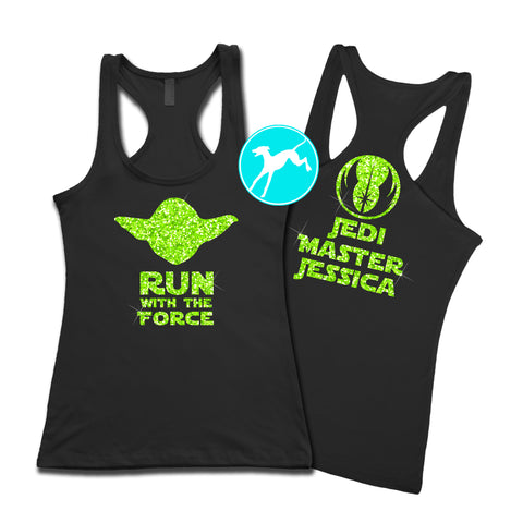 Disney Yoda run force black personalized Tank