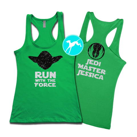 Disney Yoda run force kelly Personalized Tank