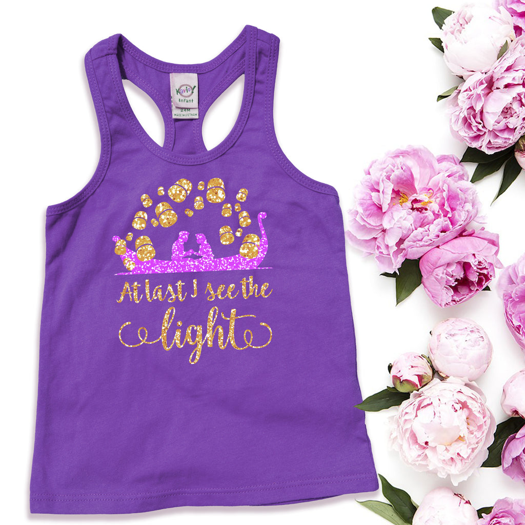 Disney Tangled floating lanterns Purple kids tank